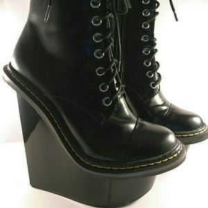 Jeffrey Campbell platform boots 7 punk leather NIB